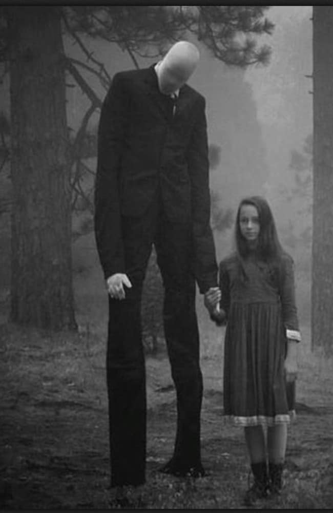 "The picture that launched a horror story ... One of the enhanced images behind the urban myth that became ""Slenderman"". Credit: Imgur"