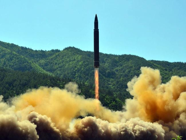 This picture taken on July 4 and released by North Korea's official Korean Central News Agency shows the successful test-fire of the intercontinental ballistic missile Hwasong-14. Picture: KNCA/AFP