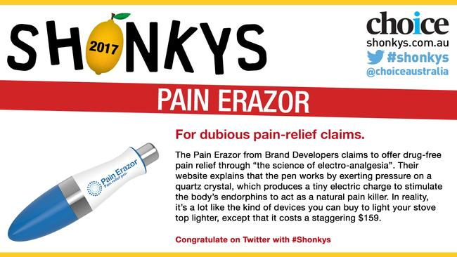 Choice found the Pain Erazor pen wasn't up to what it is claimed. Picture: Choice