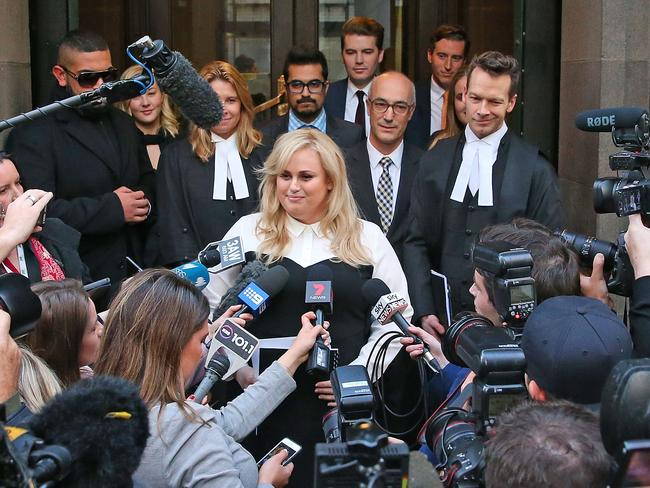 Rebel Wilson speaking to the media after winning her case. Picture: Scott Barbour/Getty Images
