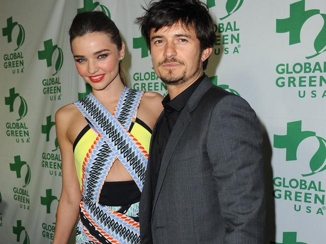 Still friendly ... Orlando Bloom and Miranda Kerr.