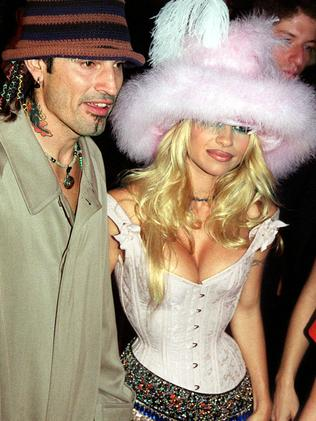 Tommy Lee with wife actor Pamela Anderson Lee in 1999. Picture: Supplied