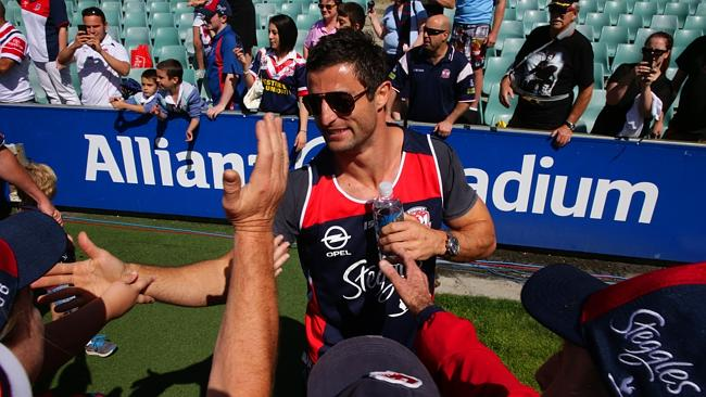 Roosters captain Anthony Minichiello meets the fans.
