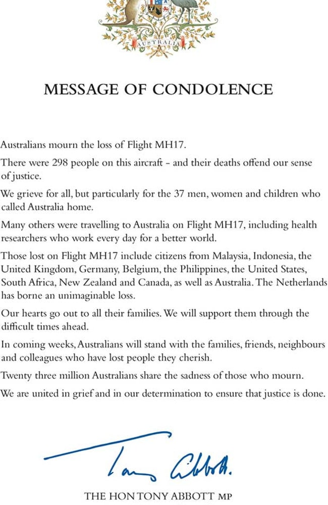 Primei Minister Tony Abbott's official condolence letter / Supplied