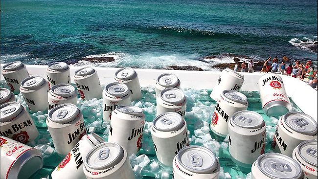 SYDNEY, AUSTRALIA - MARCH 21: The Bondi Icerbergs Pool was converted into a giant esky ice chest during the filiming of a Jim Beam commercial at Bondi Icebergs on March 21, 2013 in Sydney, Australia. (Photo by Marianna Massey/Getty Images)