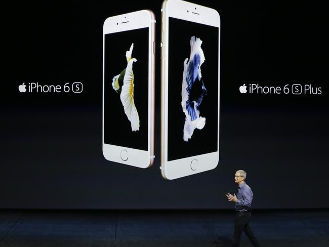 New phone ... 40 per cent of iPhone users have upgraded to the new iPhone 6 and 6S phones. Picture: AP/Eric Risberg
