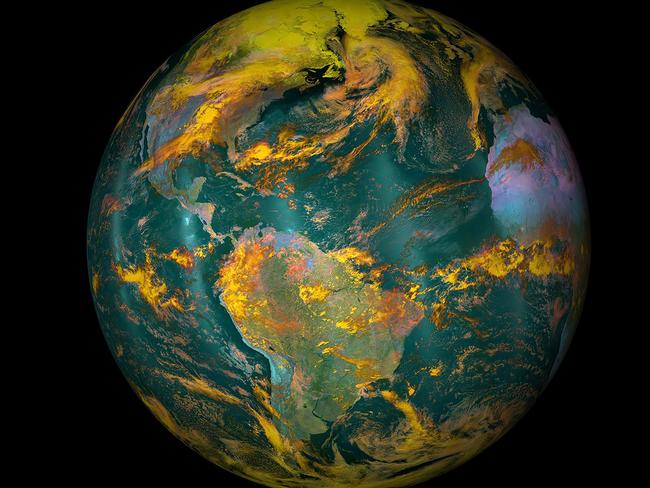 """(FILES) This file NOAA/NASA image released on April 22, 2016 shows planet Earth. Carbon emissions from burning fossil fuels have been nearly flat for three years in a row -- a """"great help"""" but not enough to stave off dangerous global warming, a report said on November 14, 2016. / AFP PHOTO / NOAA/NASA / Handout"""