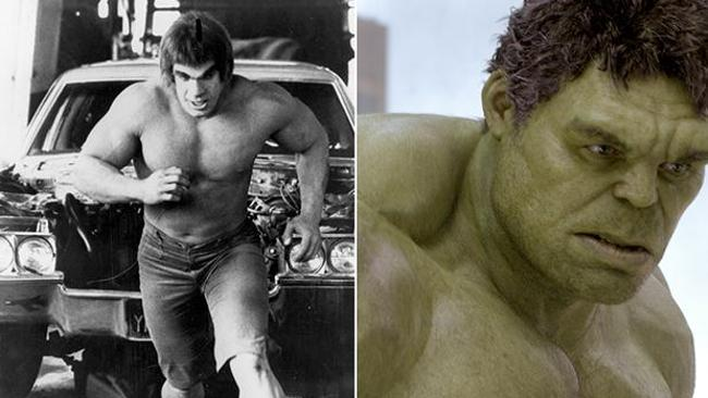 The Hulk is played by Lou Ferrigno in 1978 (left); and then by Mark Ruffalo in in 2012.