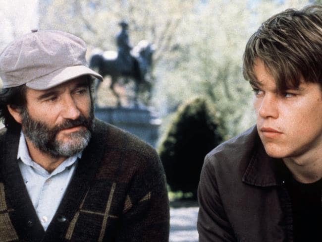 Robin Williams with Matt Damon in Good Will Hunting.