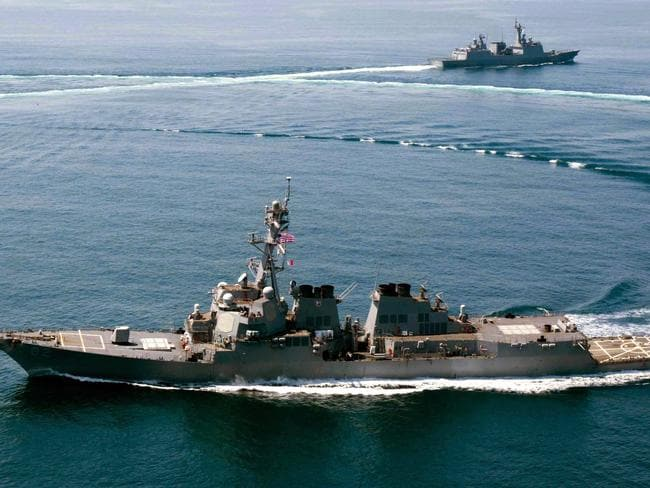 Guided-missile destroyer USS Lassen conducts a trilateral naval exercise with the Turkish and South Korean Navy to the south of the Korean Peninsula last year. The destroyer ruffled China's feathers by sailing within 12 nautical miles of Subi Reef in the Spratlys.