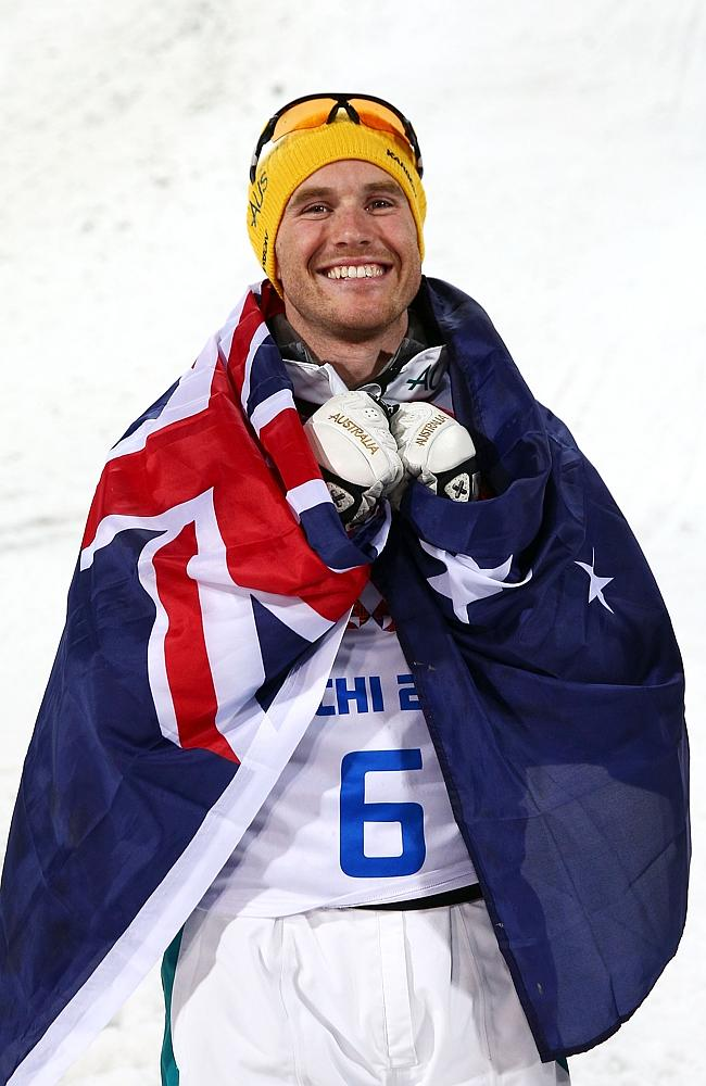 Silver medallist David Morris of Australia celebrates after the Freestyle Skiing Men's Aerials Finals.