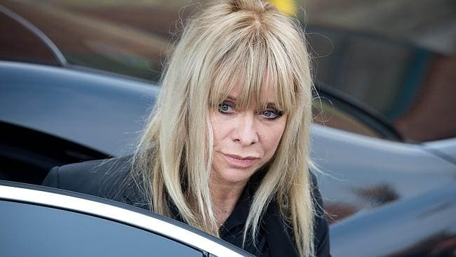 Grieving ... Jo Wood, the former wife of the Rolling Stones guitarist Ronnie Wood, pays her respects. Picture: AFP