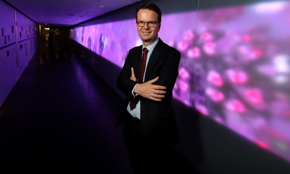 "18/01/2018: Peter Gibbs is one of three Melbourne scientists who have helped develop a blood test that can detect eight of the most common types of cancer before they turn deadly. The ""liquid biopsy"" can spot early stage tumours with up to 98 per cent accuracy, and with very few false positives. Stuart McEvoy for The Australian."