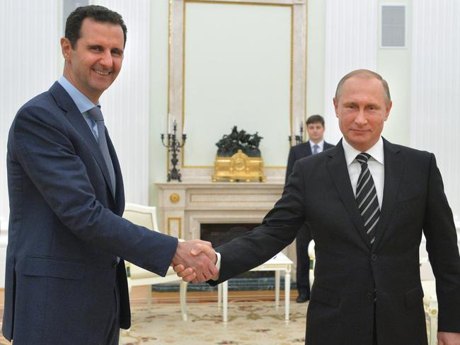 Russian President Vladimir Putin and Syrian President Bashar Assad. Picture: Sputnik, Kremlin via AP.