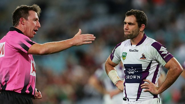 Cameron Smith of Melbourne after a try by Billy Slater was disallowed during the NRL Qualifying Final against South Sydney. Picture: Brett Costello