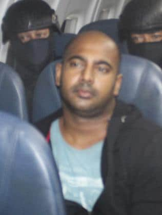 Being flown to his execution ... Bali Nine ringleader Myuran Sukumaran on the plane from Bali to Cilacap, Java, and then Nusakambangan. Picture: Supplied