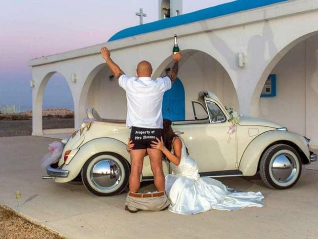 Mark and Samantha Simons on their wedding day in Cyprus. Picture: Mark and Samantha Simons