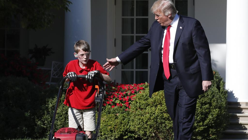 Frank Giacco offered to mow the White House lawns for free. Picture: AP