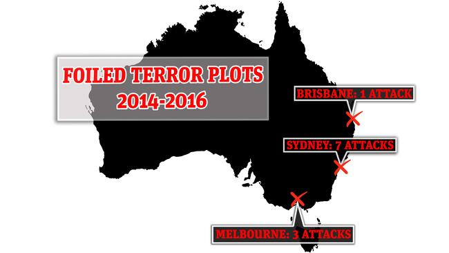 Foiled terror plots in Australia between 2014 and 2016. Picture: news.com.au