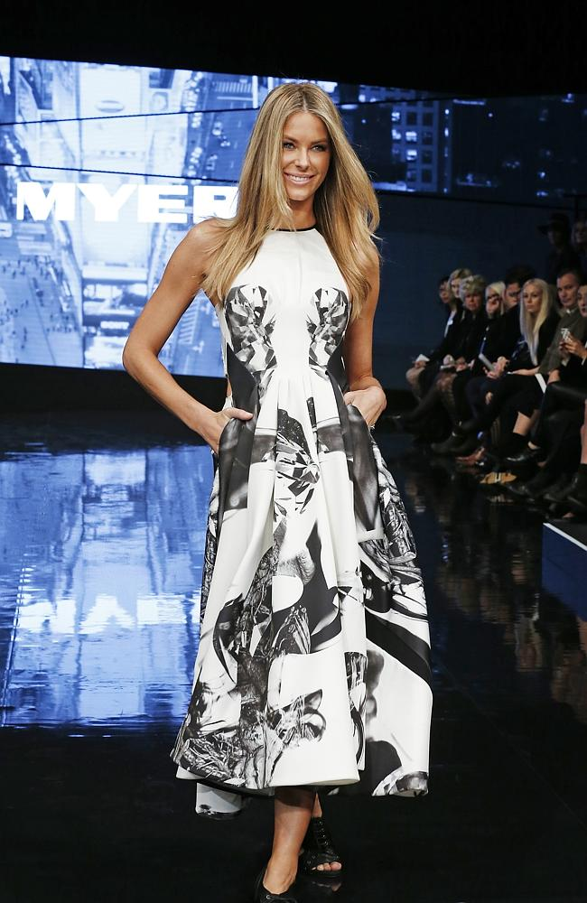 Jennifer Hawkins wearing a Maticevski design at the Myer VIP autumn/winter collection launch. Picture: David Caird