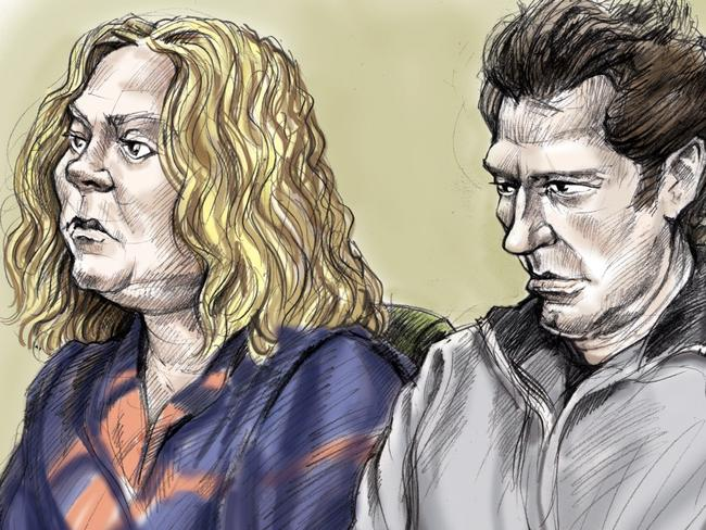 Artist impression of Mark Andrew McEachran, 43, and wife Cheryl, 48, in court.
