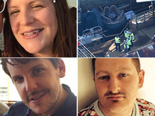 Anti-clockwise: Kate Goodchild, Luke Dorsett and Roozi Araghi were tragically killed when the ride malfunctioned.