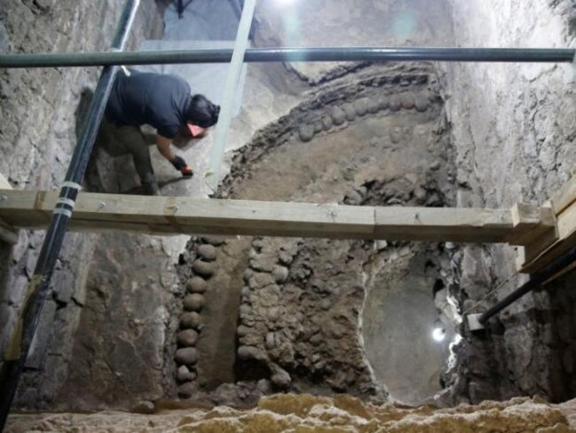 The neat circular arrangement of skulls, which were placed in a gridwork tower by the Aztecs, is being excavated in Mexico City. Picture: PAU-INAH.
