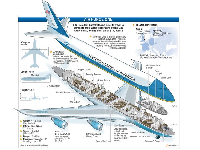 A cutaway diagram reveals the inner structure of Boeing's custom 747. Picture: Picture Media/Reuters