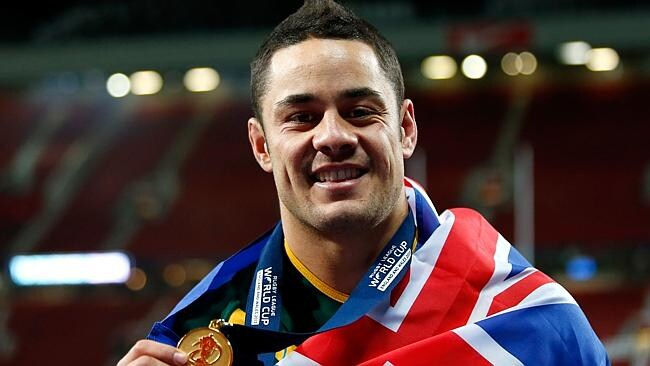Jarryd Hayne of Australia celebrates with his winners medal after the Rugby League World Cup final between New Zealand and Au...