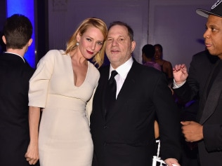 NEW YORK, NY - FEBRUARY 10: (L-R) Uma Thurman, Harvey Weinstein, and Jay Z attend the 2016 amfAR New York Gala at Cipriani Wall Street on February 10, 2016 in New York City. (Photo by Dimitrios Kambouris/WireImage)