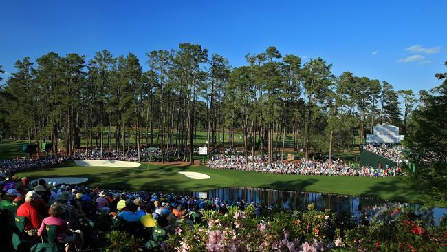 Patrons watch the play on the 16th hole during this year's US Masters at Augusta.