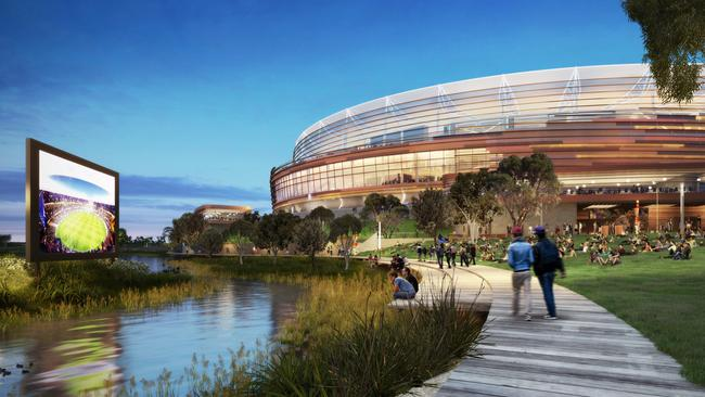 The design of Perth's new sports stadium at Burswood includes a micro brewery and picnic areas.