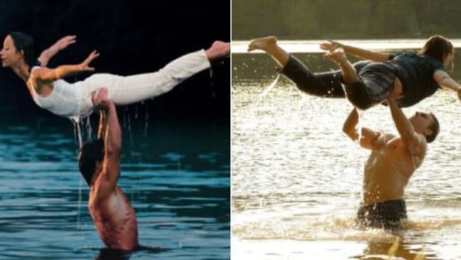 Jennifer Grey and Patrick Swayze in the original version of Dirty Dancing, versus not-Jennifer Grey and not_patrick Swayze in this year's made-for-TV remake.