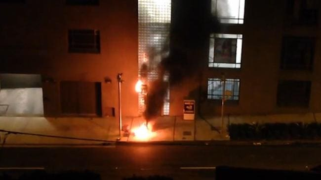 The speed camera well ablaze in Waterloo. Picture: Video Grab
