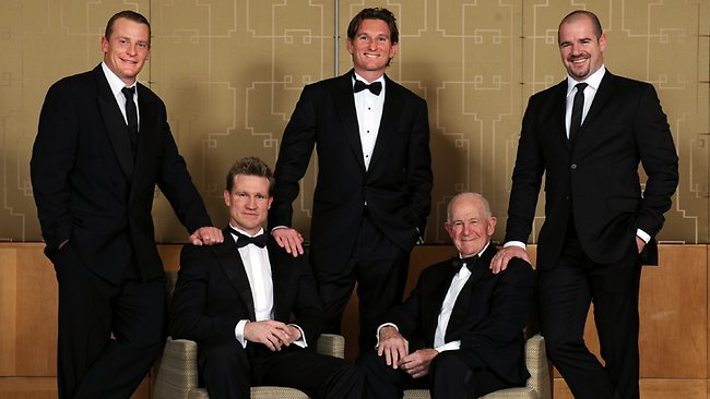 2011 AFL Hall Of Fame inductees James Hird, Mark Ricciuto, Nathan Buckley, Michael Voss and Tony Charlton. Picture: Michael Dodge