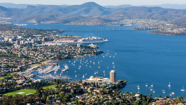 An aerial view of Hobart, which will record a boom in prices over 2018, according to SQM Research.