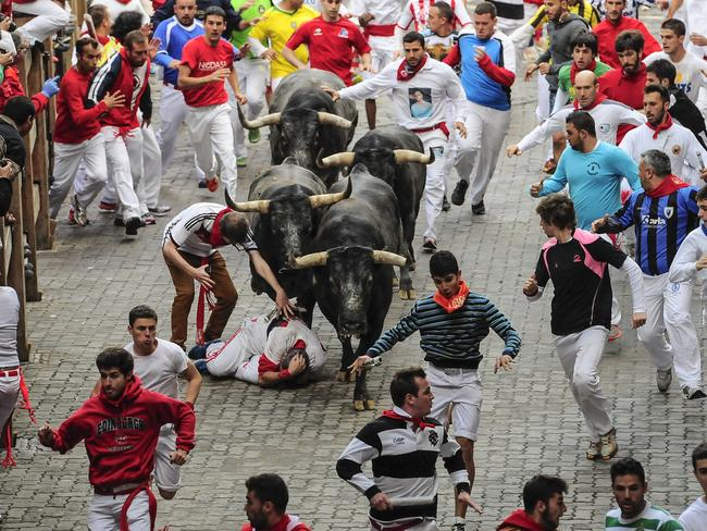 A runner falls in front of ''Miura'' pack fighting bulls as revelers run ahead the bull on the way to the bull ring, during the running of the bulls, at the San Fermin festival, in Pamplona, Spain, Monday, July 14, 2014. Revelers from around the world arrive to Pamplona every year to take part in some of the eight days of the running of the bulls. (AP Photo/Alvaro Barrientos)