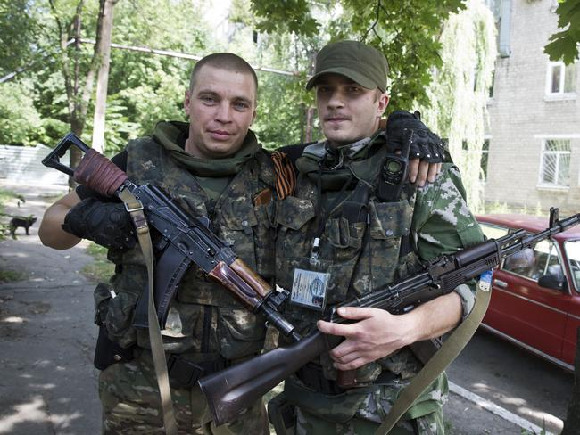 Comrades in arms ... the militants come from the Sloviansk area. Picture: Ella Pellegrini