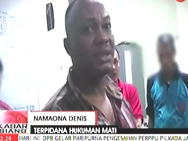 Using a false name ... Namaona Denis before he was executed in Indonesia. Picture: YouTube