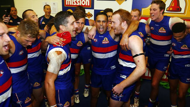 Western Bulldogs first gamer Nick Lower, Koby Stevens, Brett Goodes and Tom Young after the Western Bulldogs vs Brisbane Lions match at the Etihad Stadium, Melbourne. March 30, 2013. Picture: Klein Michael