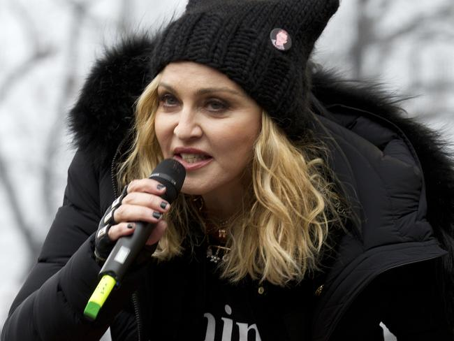 Madonna performs on stage during the women's march rally on Saturday. Picture: Jose Luis Magana/AP