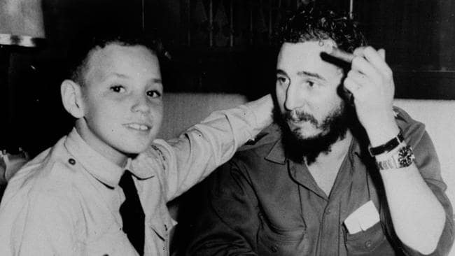 Fidel Castro and his son, Fidel Jr, in the Hilton Hotel in Havana in 1959. Picture: AP