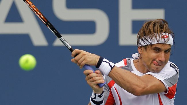 David Ferrer was made to work by Australia's Lleyton Hewitt, but eventually prevailed in four sets.