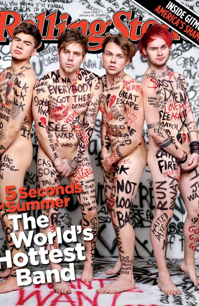 Bare it all ... 5 Seconds of Summer have stripped off for the Rolling Stone cover. Picture: Rolling Stone