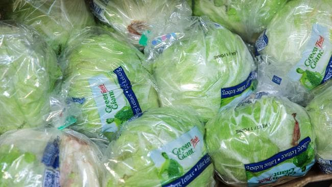 A box of Amercian iceberg lettuces is packaged for sale at London's New Covent Garden fruit and vegetable wholesale market last week in London, England. Some supermarkets in the UK are rationing the amount of broccoli and iceberg lettuce customers can buy due to poor weather conditions in Europe. Picture: Jack Taylor/Getty Images.
