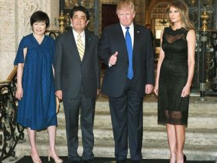 Donald Trump with Japan's Prime Minister Shinzo Abe. Image: Getty