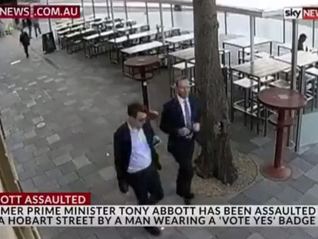 The moment before Tony Abbott was allegedly headbutted in Hobart. Picture: Sky News