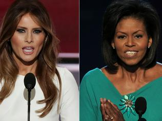 (COMBO) This combination of file pictures created on July 19, 2016 shows Melania Trump (L), wife of presumptive Republican presidential candidate Donald Trump, addressing delegates on the first day of the Republican National Convention on July 18, 2016 at Quicken Loans Arena in Cleveland, Ohio, on July 18, 2016 and Michelle Obama, wife of US Democratic presidential candidate Barack Obama, greeting the audience at the Democratic National Convention 2008 at the Pepsi Center in Denver on August 25, 2008. Donald Trump faced an embarrassing plagiarism scandal on July 19, 2016 that tarnished his wife Melania's prime-time speech to a Republican National Convention already roiled by an opening day rank-and-file revolt. It was a rough start to the four-day buildup to Trump's presidential nomination, one designed for maximum media exposure for the Republican standard bearer and his supporters. / AFP PHOTO / ALEX WONG AND PAUL J. RICHARDS