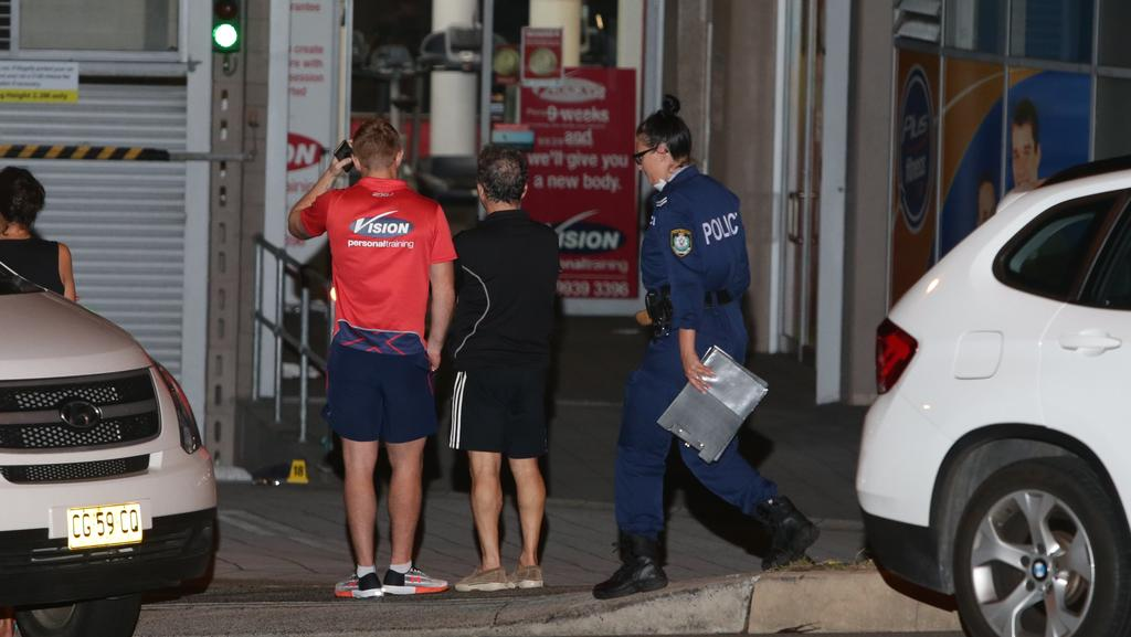 Police outside the Brookvale gym where three men were stabbed. Picture: Bill Hearne