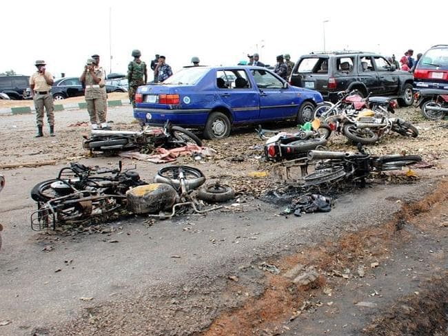 Attack ... A powerful blast at a bus stop backed with commuters has killed 71 people in Nigeria. The attack is believed to have been orchestrated by Islamist group Boko Haram. Picture: AFP